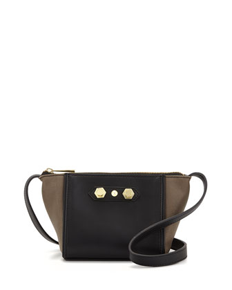 Dani Colorblock Faux-Leather Crossbody Bag, Gray Combo