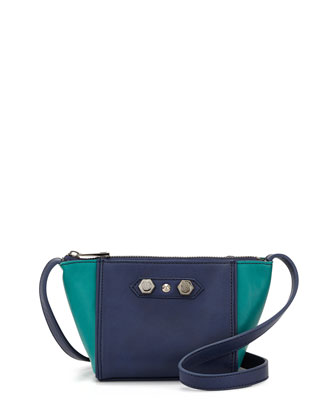 Dani Colorblock Faux-Leather Crossbody Bag, Peacock