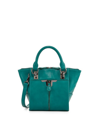Alexa Zip-Front Mini Crossbody Bag, Peacock