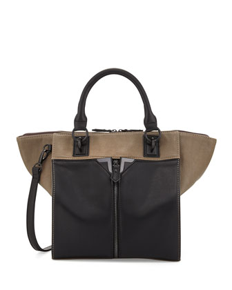 Colorblock Faux-Leather Zip-Front Tote Bag, Gray/Black