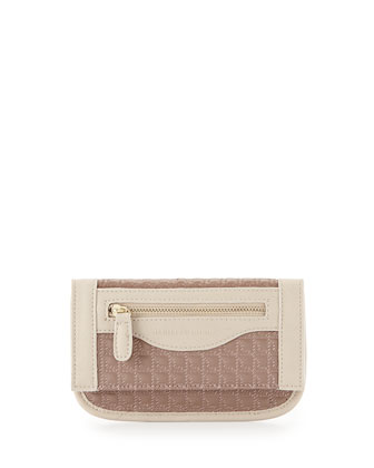 Billy Quilted Faux-Leather Wallet on Crossbody Chain, Tan
