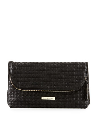 Quilted Faux-Leather Fold-Over Clutch Bag, Black