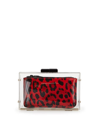 Sportive Two-In-One Leopard Print Minaudiere, Red