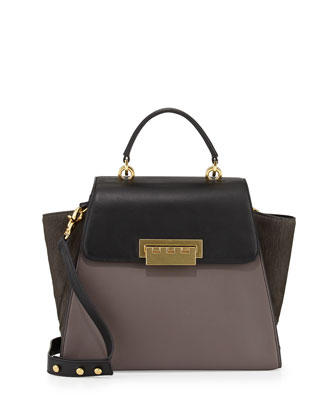 Eartha Colorblock Calf Hair Satchel Bag, Shadow