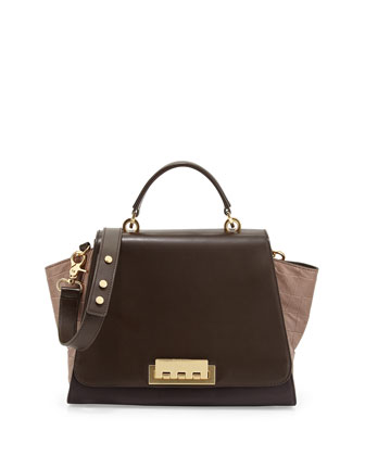 Eartha Colorblock Croc-Embossed Long-Flap Satchel Bag, Prune/Tan