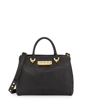 Eartha Saffiano Leather Barrel Satchel Bag, Black