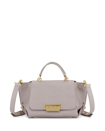Eartha Small Saffiano Satchel Bag, Thistle