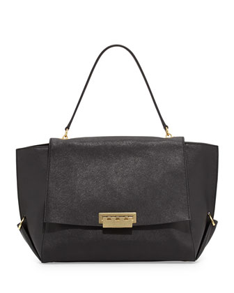 Eartha Saffiano Flap-Top Satchel Bag, Black
