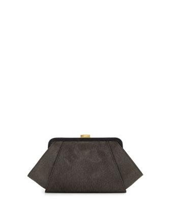 Posen Angled Calf Hair Clutch Bag, Shale