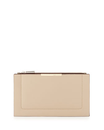 Double-Layer Faux-Leather Clutch Bag, Nude
