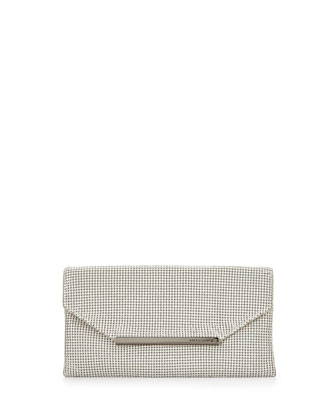 Bardot Metal Mesh Clutch Bag, White