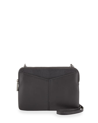 Snake-Embossed Napa Leather Double Crossbody Bag, Black