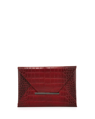 Harlow Croc-Embossed Envelope Clutch Bag, Royal Port
