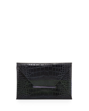 Harlow Croc-Embossed Envelope Clutch Bag, Dark Navy