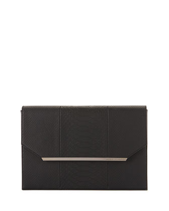 Snake-Embossed Envelope Clutch Bag, Black