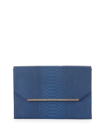 Snake-Embossed Envelope Clutch Bag, Cobalt