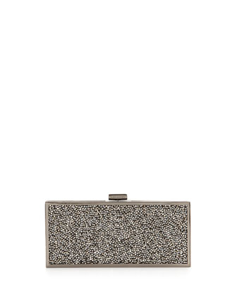 Hard Rock Crystal Clutch Bag, Gold/Gunmetal
