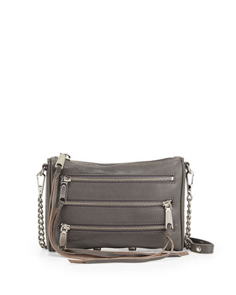 Five-Zip Mini Crossbody Bag, Charcoal