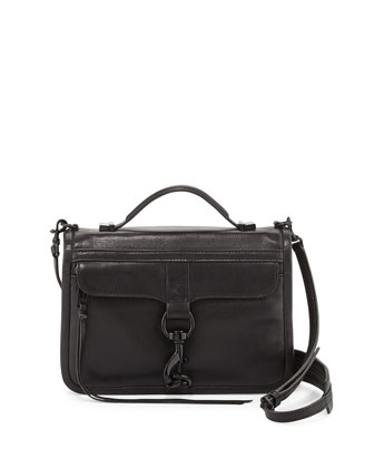 Bowery Flap-Top Crossbody Bag, Black