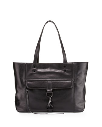 Bowery Tumbled Leather Tote Bag, Black