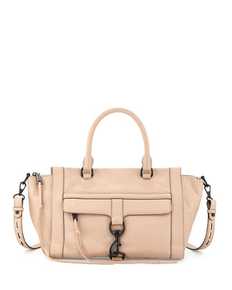 Bowery Zip Satchel Bag, Latte