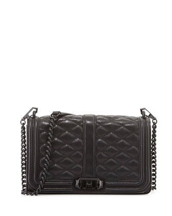 Love Quilted Turn-Lock Crossbody Bag, Black