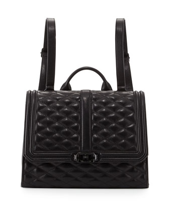 Love Quilted Leather Backpack, Black