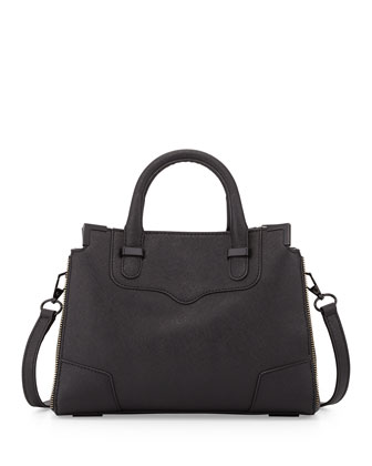 Amorous Small Saffiano Satchel Bag, Black