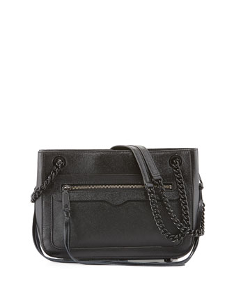 Avery Saffiano Leather Shoulder Bag, Black