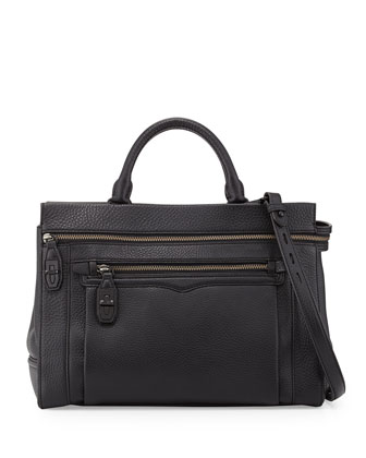 Crosby Pebbled Leather Tote Bag, Black