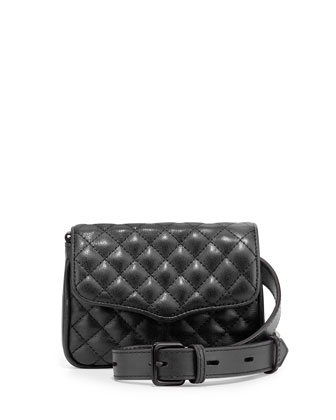 Affair Quilted Leather Flap-Top Fanny Pack, Black