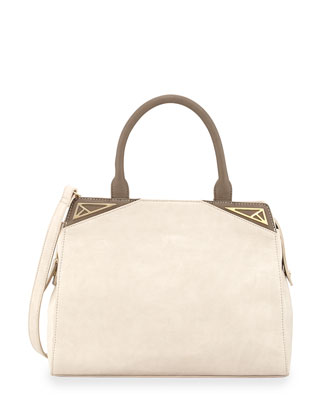Two-Tone Faux-Leather Tote Bag, Nude