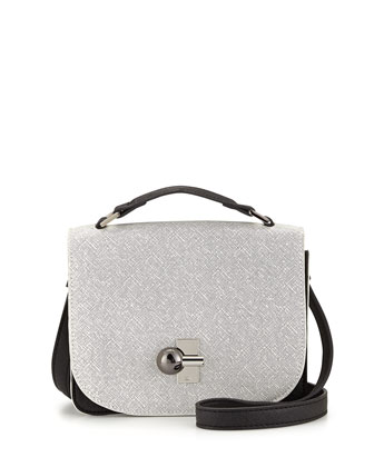 Colorblock Faux-Saffiano Crossbody Bag, White/Black