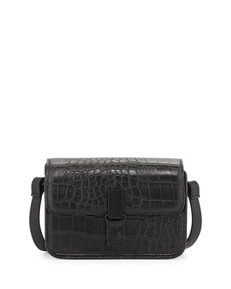 Lady Croc-Embossed Faux-Leather Crossbody Bag, Black