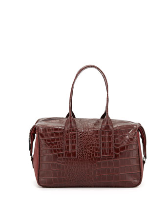 Lady Croc-Embossed Faux-Leather Satchel Bag, Burgundy