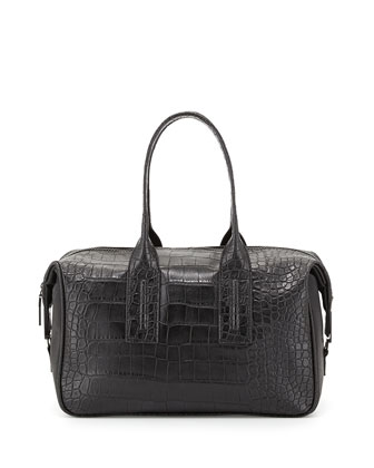 Lady Croc-Embossed Faux-Leather Satchel Bag, Black