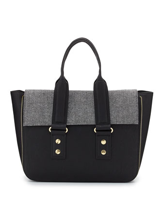 Elite Tweed Flap-Top Satchel Bag, Black