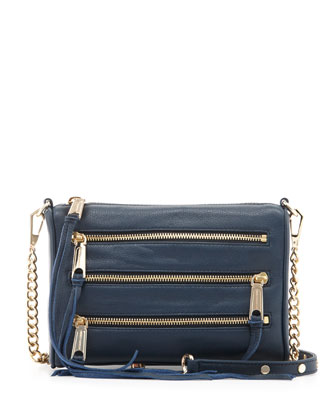 Five-Zip Mini Crossbody Bag, Ink