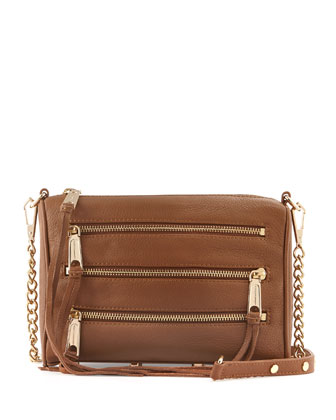 Five-Zip Mini Crossbody Bag, Fatigue