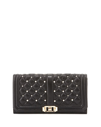 Love Pearly Quilted Turn-Lock Clutch Bag, Black