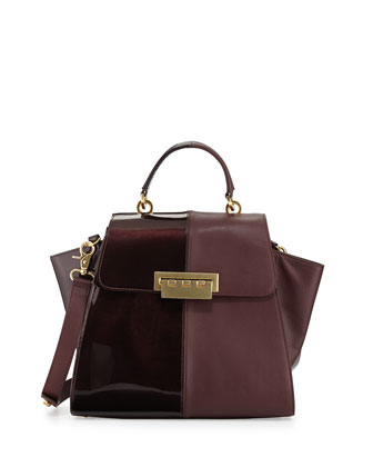 Eartha Contrast Textured Flap-Top Satchel Bag, Vineyard