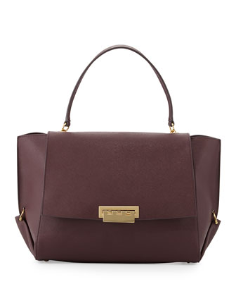 Eartha Saffiano Flap-Top Satchel Bag, Vineyard