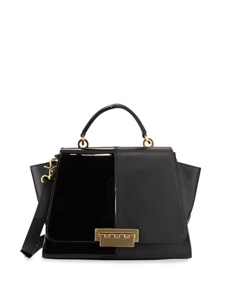 Eartha Contrast Textured Long-Flap Satchel Bag, Black