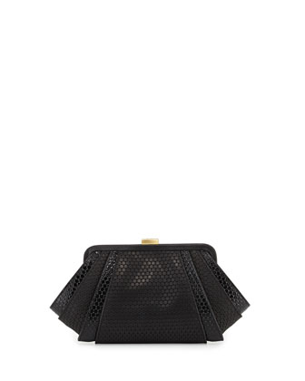 Posen Oversized Angled Embossed Clutch Bag, Black