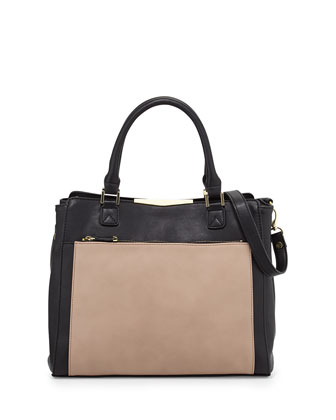 Colorblock Faux-Leather Tote Bag, Black/Nude