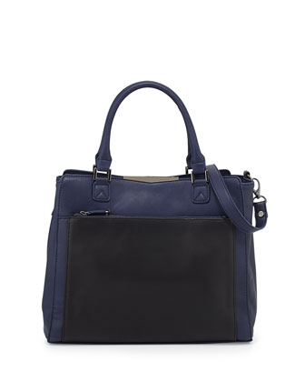 Colorblock Faux-Leather Tote Bag, Navy/Black