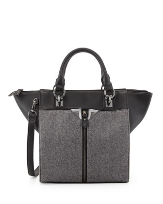 Combo Felt Tote Bag, Black