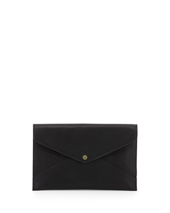 Tina Faux-Leather Envelope Clutch, Black