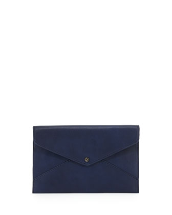 Tina Faux-Leather Envelope Clutch, Navy