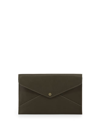 Tina Faux-Leather Envelope Clutch, Olive